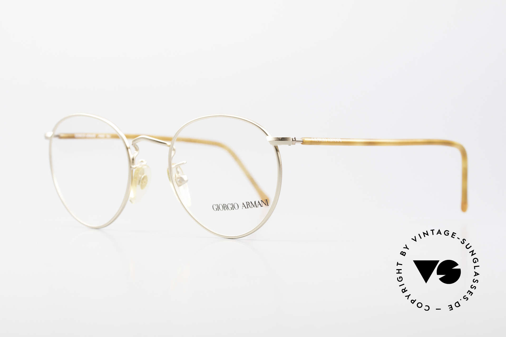 """Giorgio Armani 138 Vintage Panto Eyeglasses 90's, noble matt gold frame fnish with """"tortoise"""" temples, Made for Men and Women"""