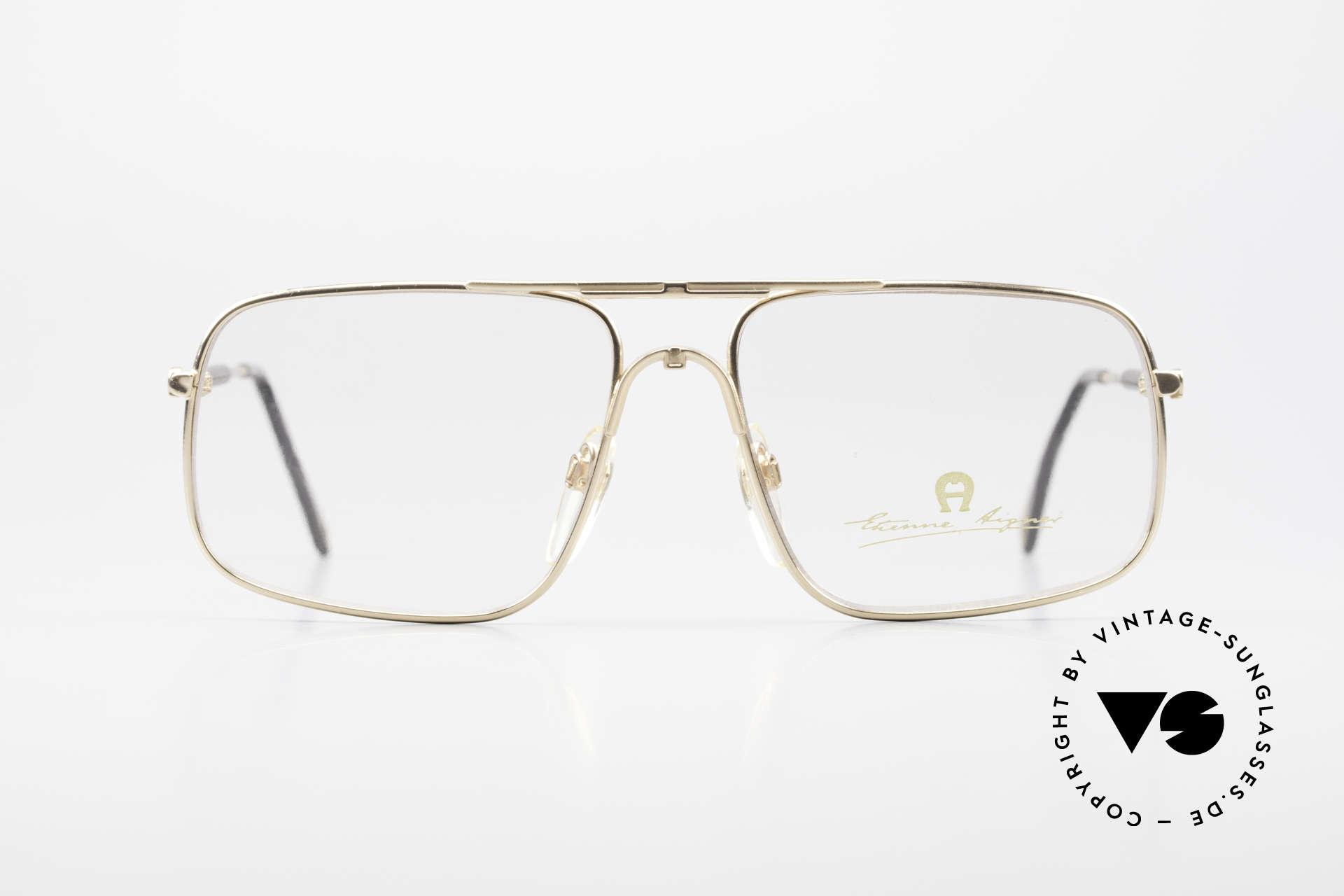 Aigner EA23 Rare 80's Vintage Eyeglasses, mod. EA23, size 58-18, col. 021 (gold-plated / black), Made for Men