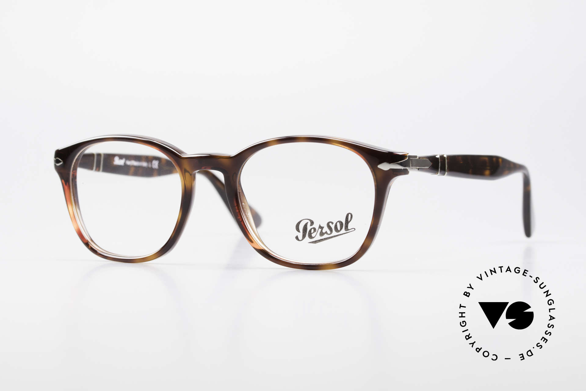Persol 3122 Classic Square Panto Glasses, elegant Persol frame with flexible spring hinges, Made for Men and Women
