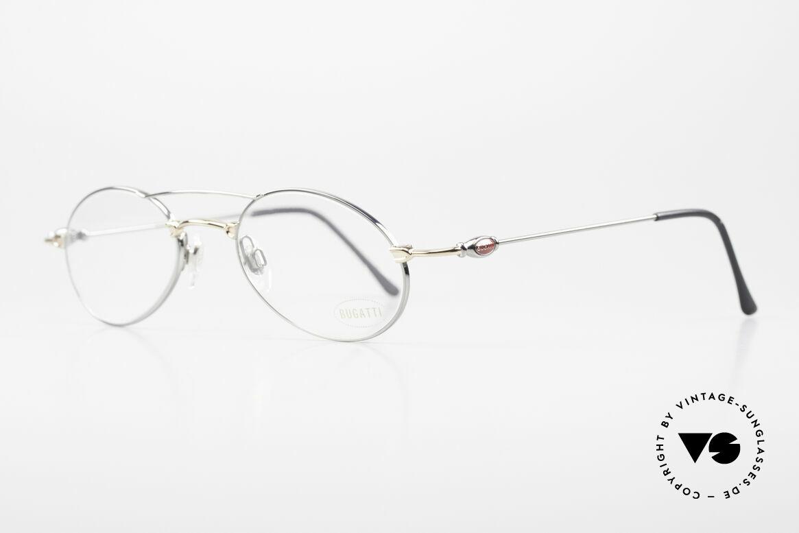 Bugatti 10892 Vintage Men's Eyeglasses 90's, high-end frame finish: gunmetal chrome / gold-plated, Made for Men