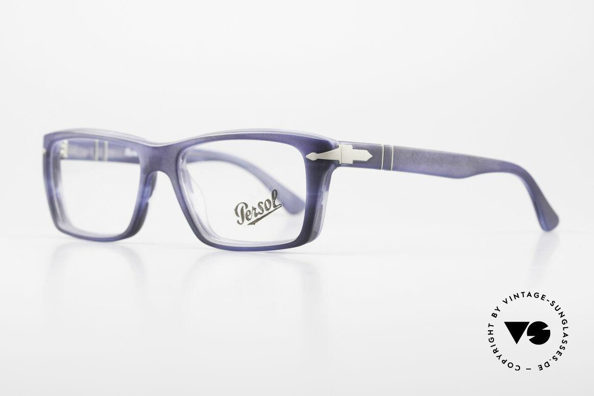 Persol 3060 Striking Eyeglasses For Men, the plastic frame looks dark blue / gray veined, Made for Men