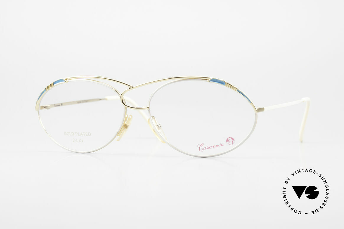 Casanova LC13 24kt Gold Plated Vintage Frame, glamorous CASANOVA eyeglass-frame from around 1985, Made for Women