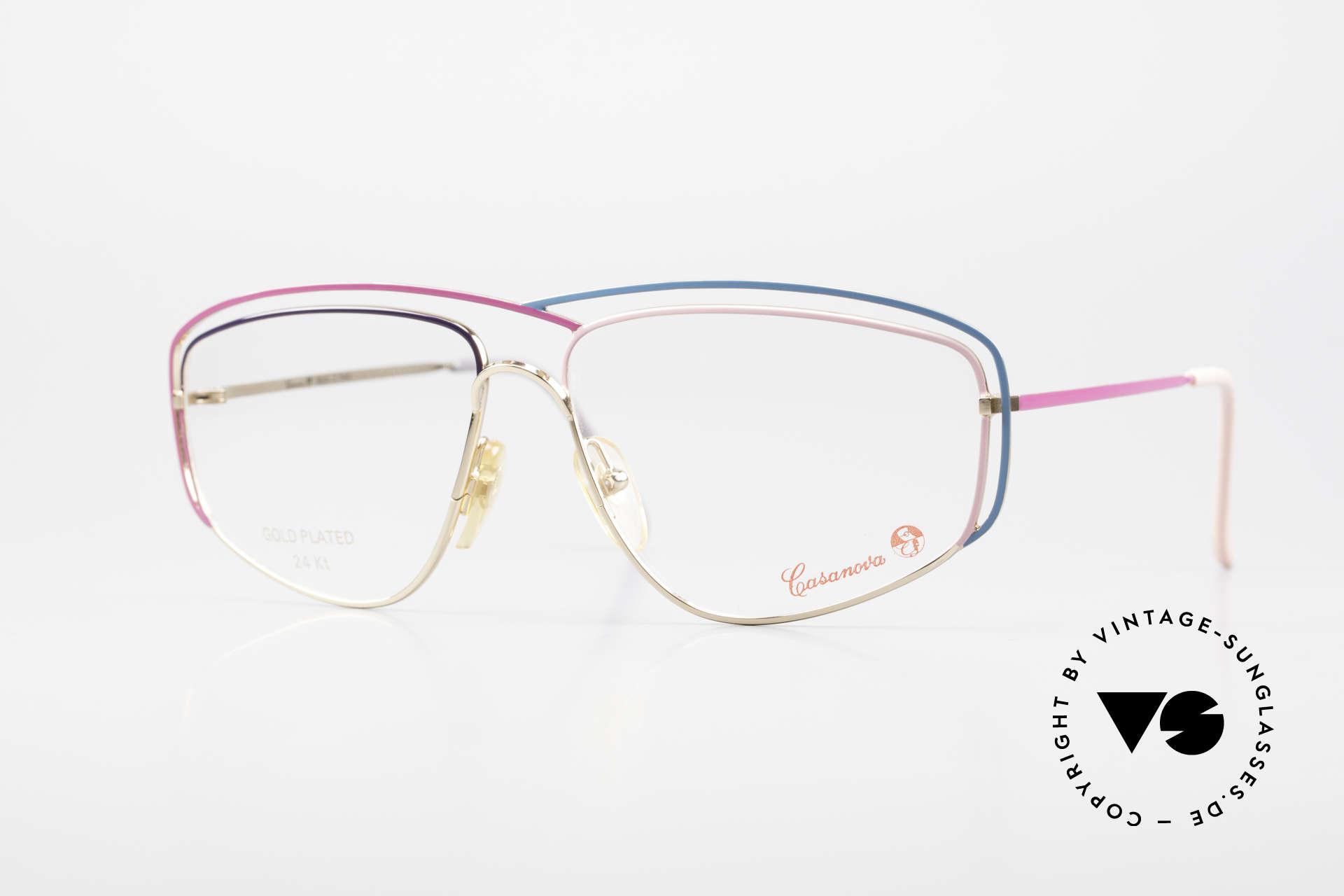 Casanova CN24 24kt Gold Plated Ladies Frame, glamorous CASANOVA eyeglass-frame from around 1985, Made for Women