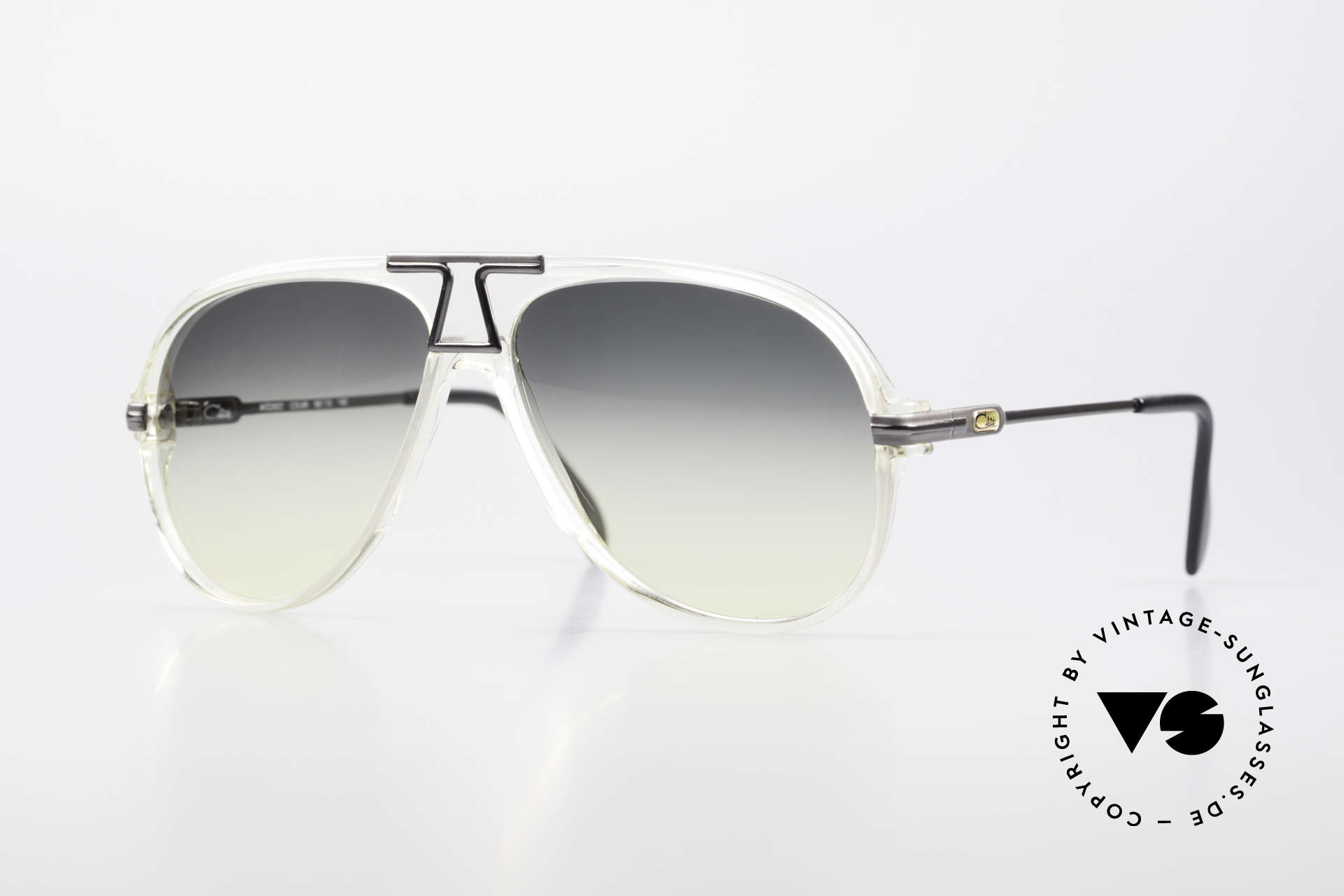 """Cazal 622 Old 80's West Germany Cazal, crystal clear frame front with """"gunmetal"""" temples, Made for Men"""