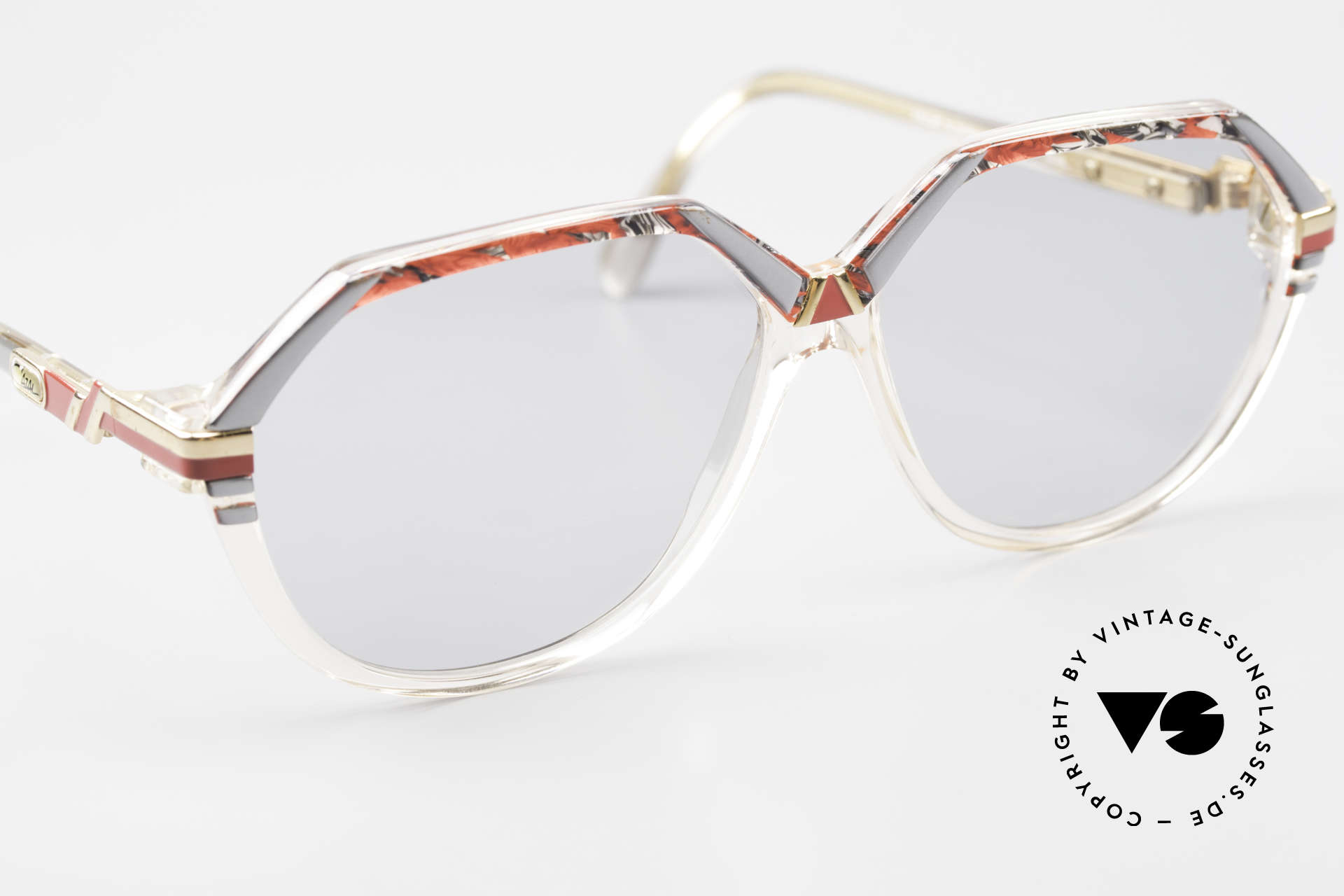 Cazal 317 Old 80's Cazal West Germany, light gray tinted sun lenses (also wearable at night), Made for Men and Women