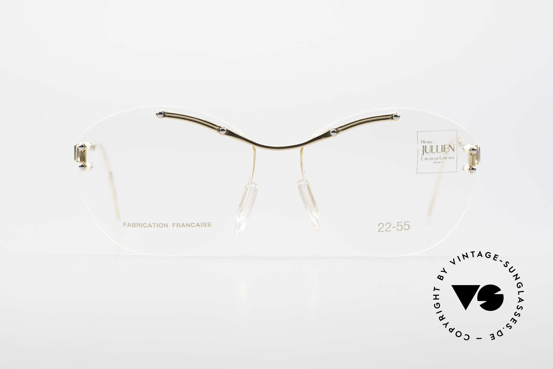 Henry Jullien Melrose 2255 Rimless Vintage Ladies Frame, Jullien is well-known for high-end gold processing, Made for Women