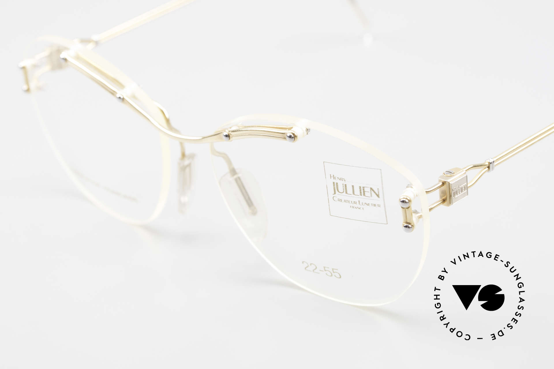 Henry Jullien Melrose 2255 Rimless Vintage Ladies Frame, NO retro glasses; but an authentic rarity from 1994, Made for Women