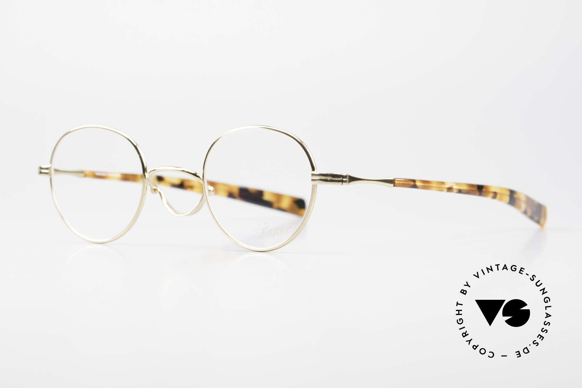 Lunor Swing A 32 Panto Swing Bridge Gold Plated, handmade in Germany, with acetate temples; vertu!, Made for Men and Women