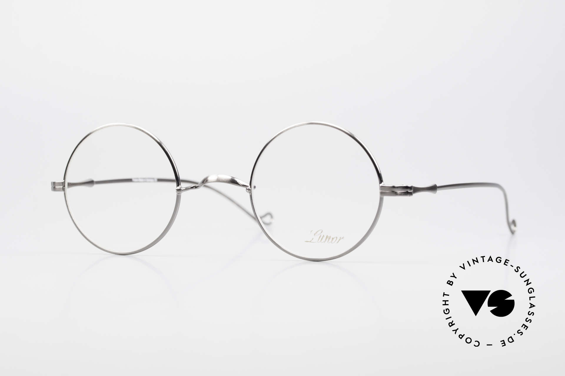 """Lunor II 23 Round Frame Antique Silver, round Lunor eyeglasses of the old """"LUNOR II"""" series, Made for Men and Women"""