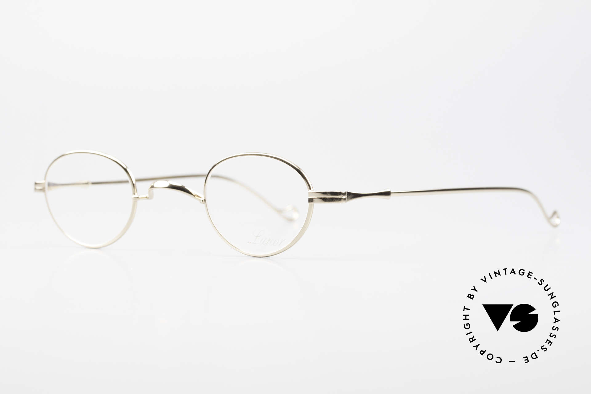 Lunor II 03 XS Unisex Frame Gold Plated, XS size 37,5/26, can be glazed with strong prescriptions, Made for Men and Women