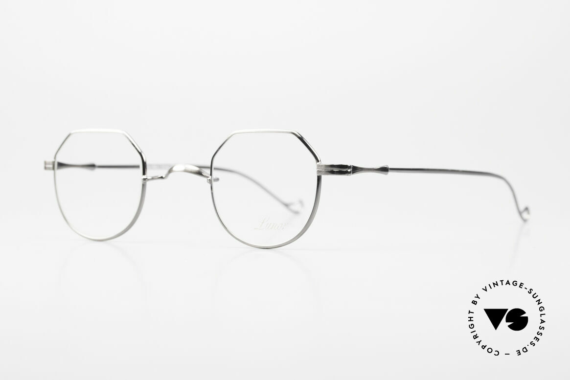 """Lunor II 18 Square Panto Eyeglasses Metal, very interesting """"square panto"""" design; antique silver, Made for Men and Women"""