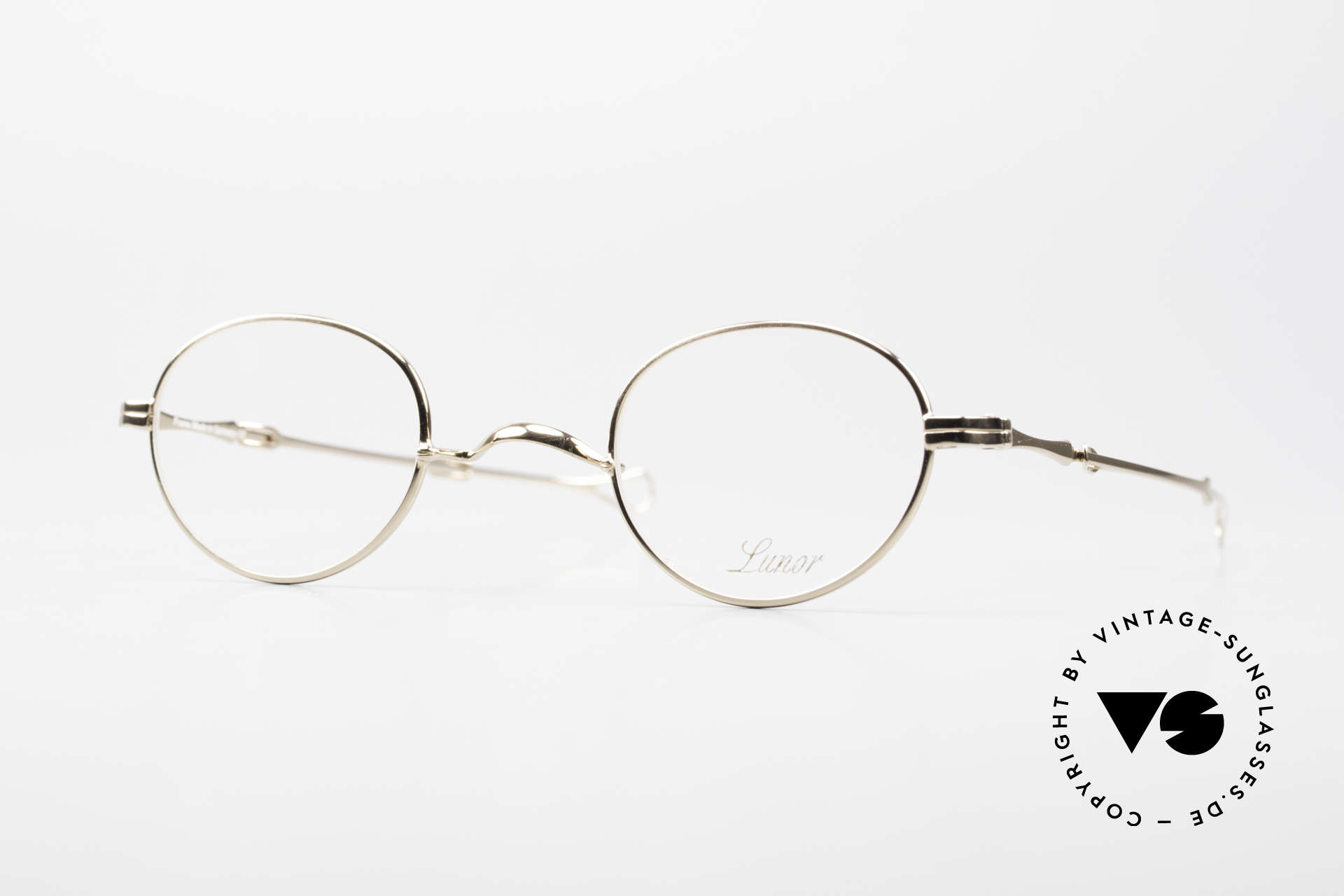 """Lunor I 20 Telescopic Sliding Temples Gold Plated, old LUNOR telescopic eyeglasses or """"sliding glasses', Made for Men and Women"""