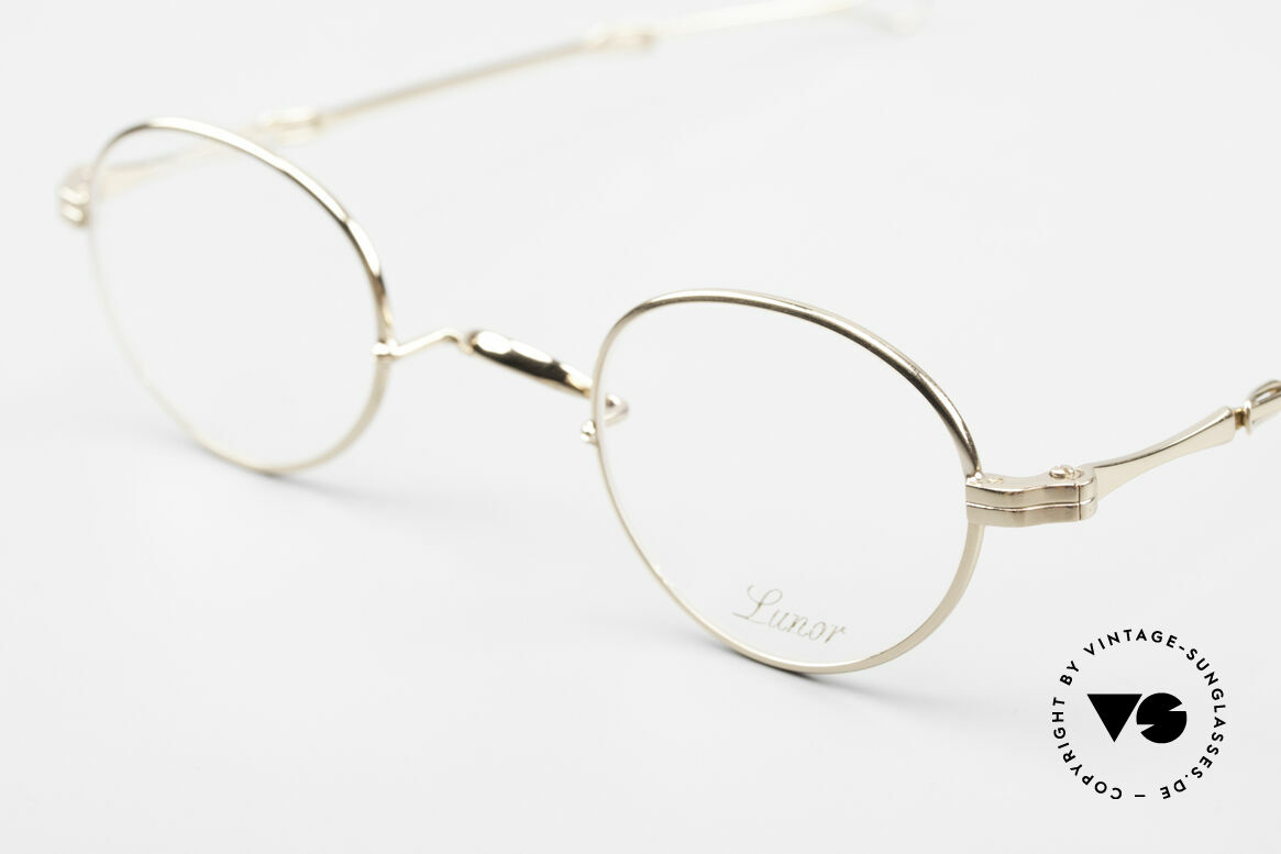 Lunor I 20 Telescopic Sliding Temples Gold Plated, this mechanism made the brand Lunor world-famous, Made for Men and Women