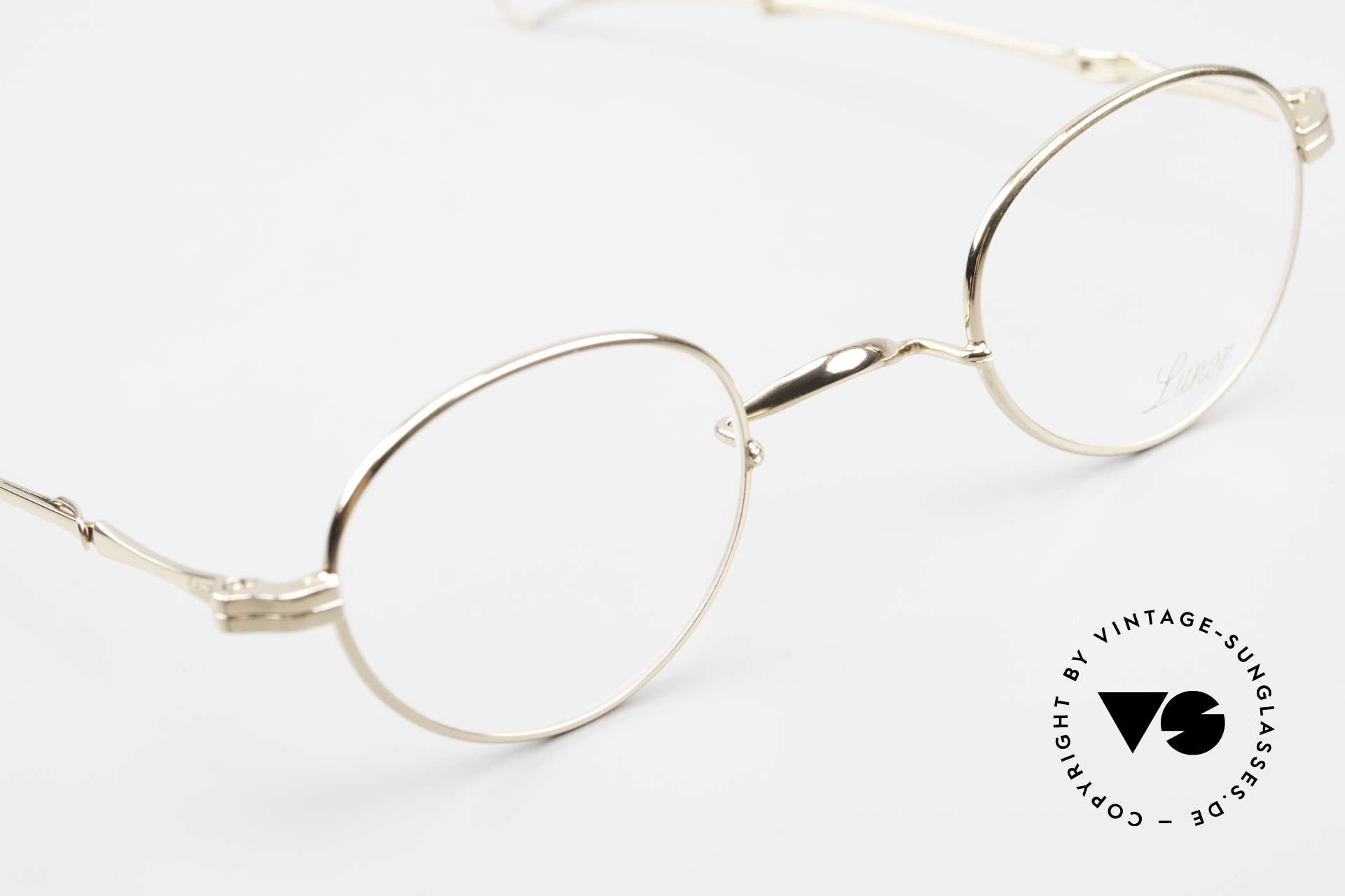 Lunor I 20 Telescopic Sliding Temples Gold Plated, a highlight for all eyewear lovers; small size 41/26, Made for Men and Women