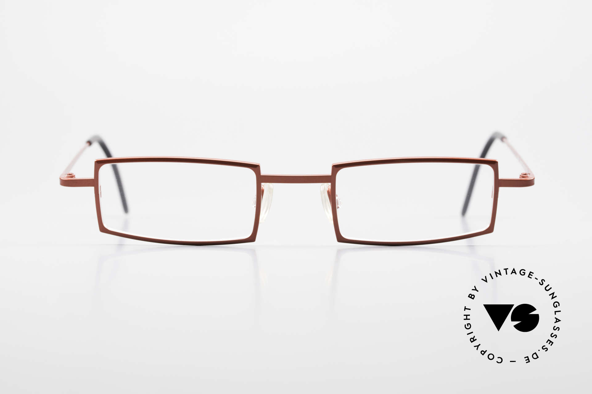 Theo Belgium Largest Square Striking Metal Glasses, very striking frame design with lively red coloring, Made for Women