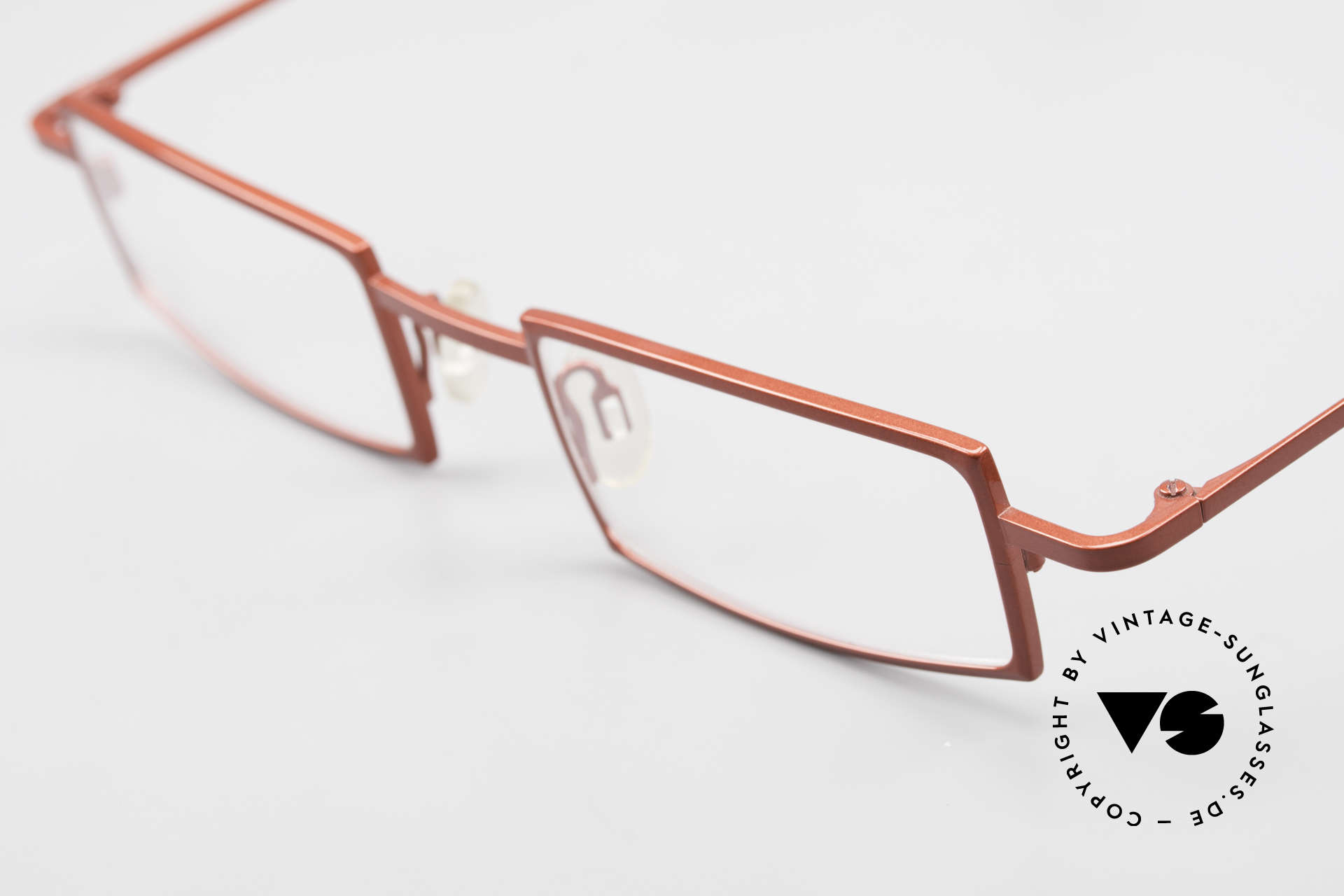 Theo Belgium Largest Square Striking Metal Glasses, unworn (like all our vintage designer specs by THEO), Made for Women
