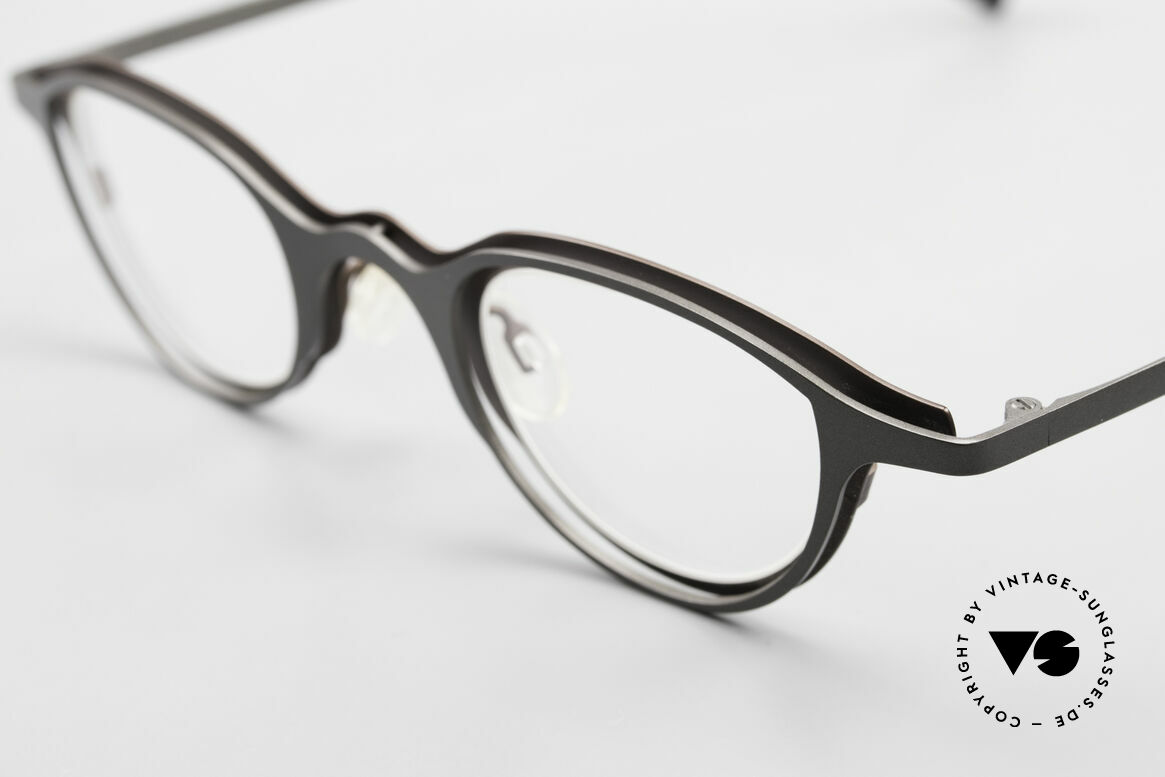 Theo Belgium Uno Enchanting Ladies Eyeglasses, 2 metal front parts (gray & brown) are screwed together, Made for Women