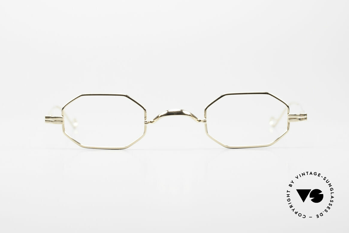 Lunor II 01 Octagonal Frame Gold Plated, small, octagonal vintage glasses of the Lunor II Series, Made for Men and Women
