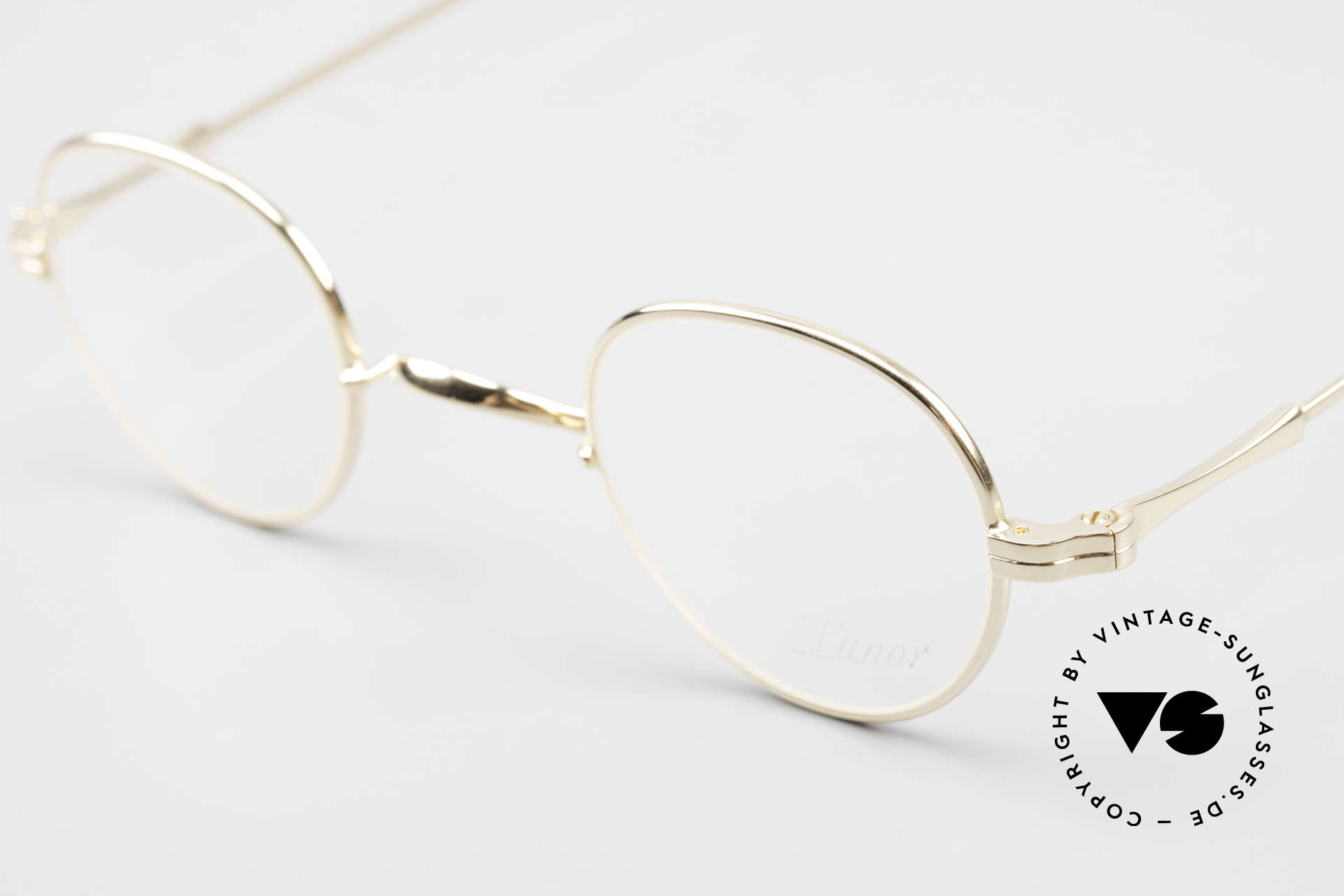 Lunor II 15 Old Panto Frame Gold Plated, traditional German brand; quality handmade in Germany, Made for Men and Women