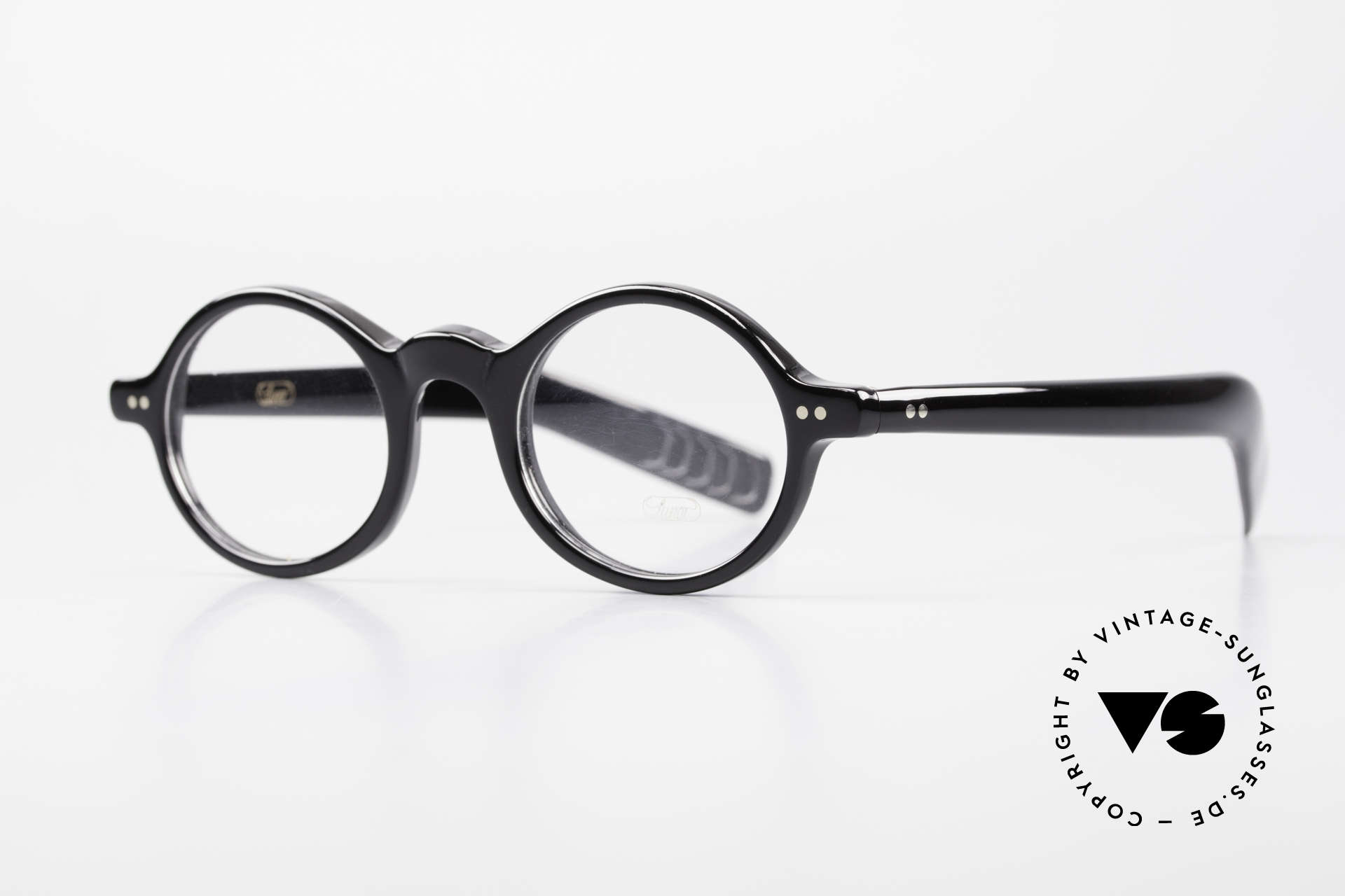 Lunor A52 Oval Eyeglasses Black Acetate, oval frame with classic coloring: black with silver rivets, Made for Men and Women