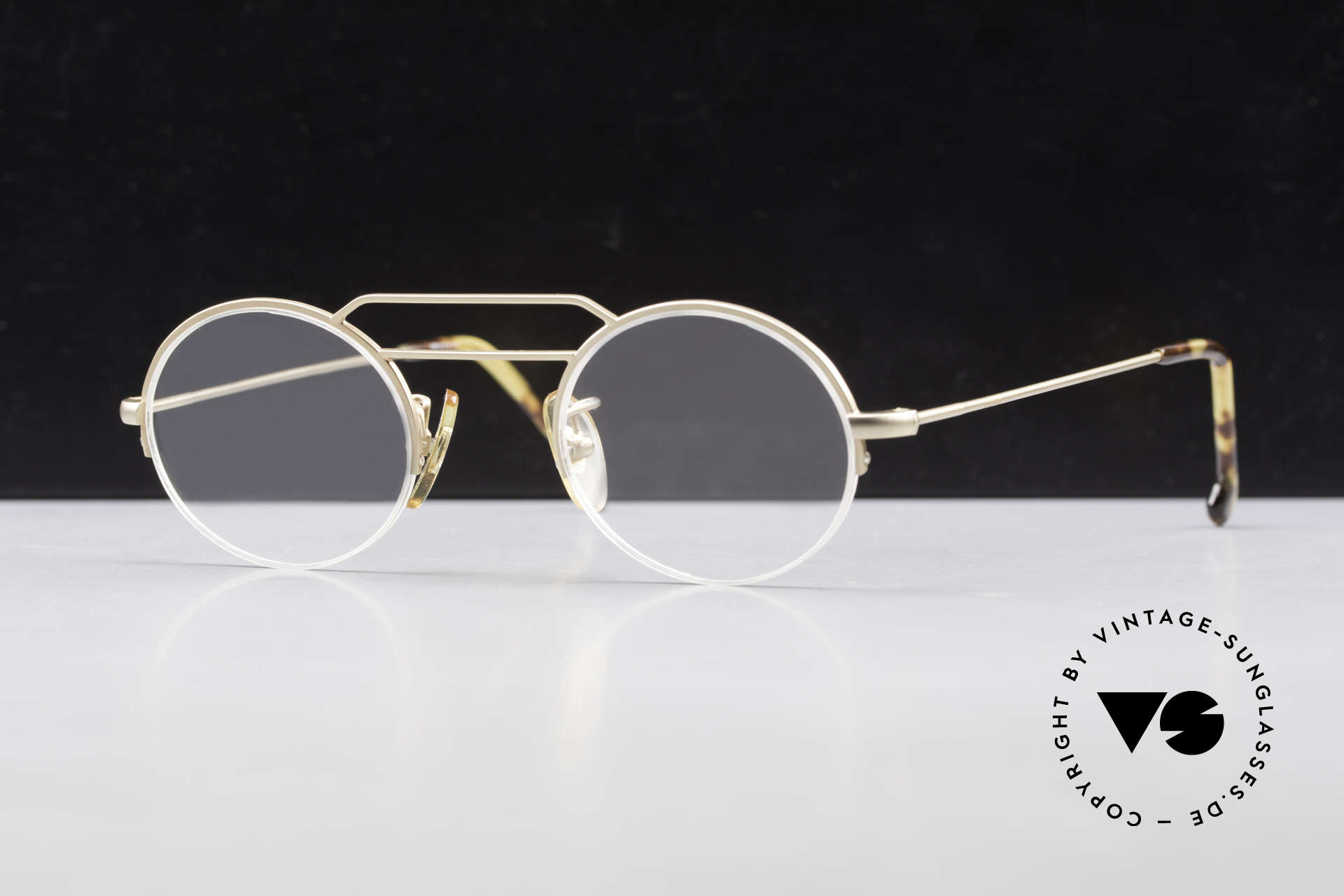 W Proksch's M5/13 90's Semi Rimless Dulled Gold, dulled GOLD Proksch's vintage glasses from 1994, Made for Men and Women