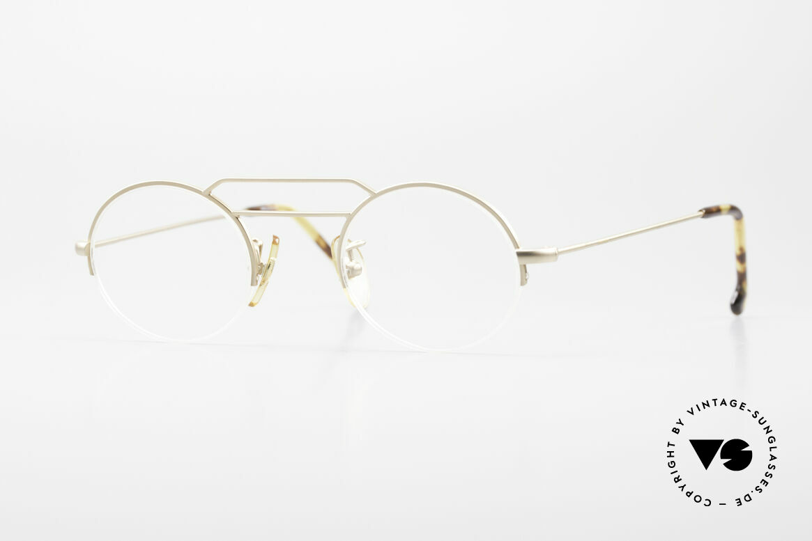 W Proksch's M5/13 90's Semi Rimless Dulled Gold, plain frame design & Japanese striving for quality, Made for Men and Women