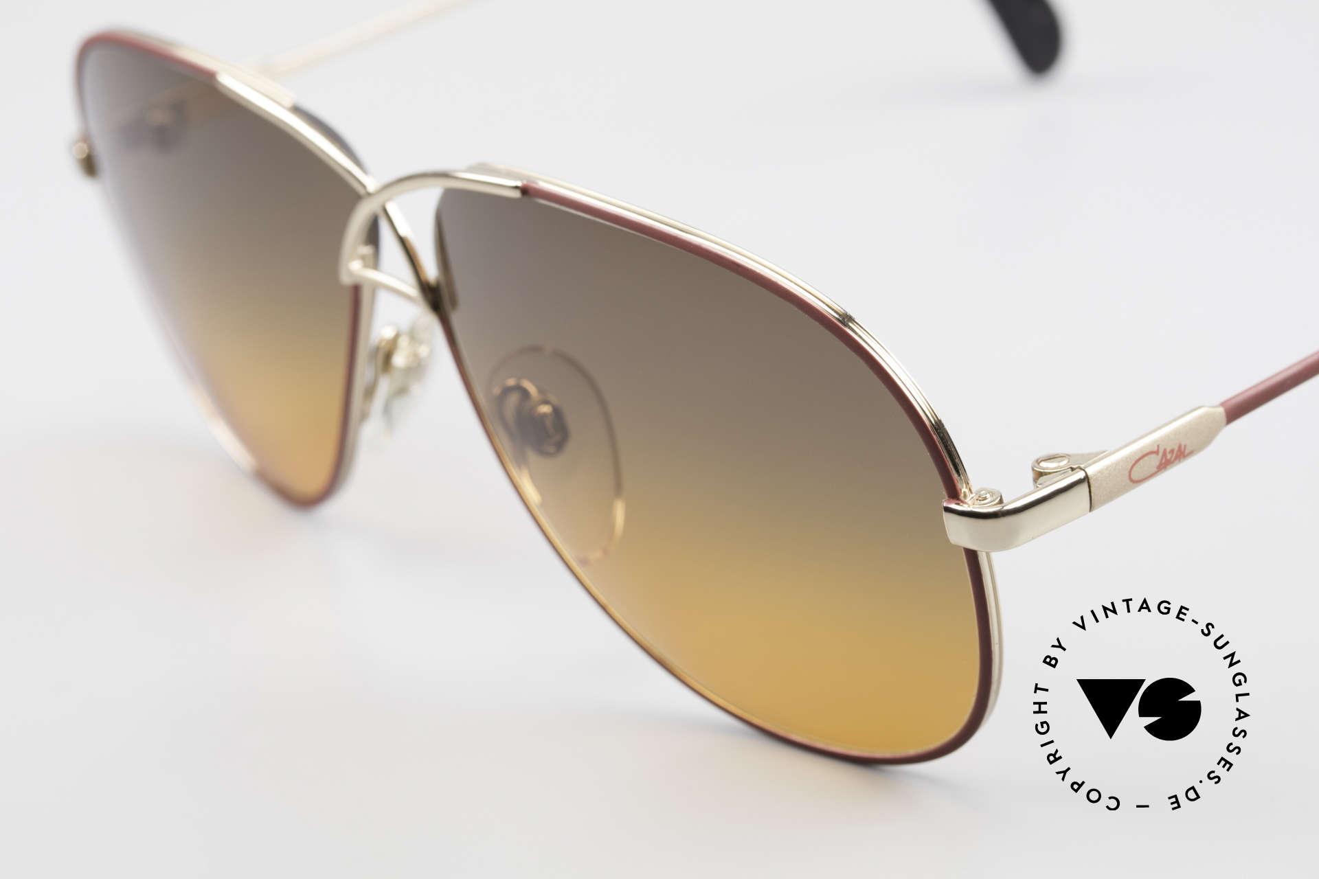 Cazal 728 80's Designer Aviator Shades, fancy sun lenses (gray-orange gradient); 100% UV, Made for Men and Women
