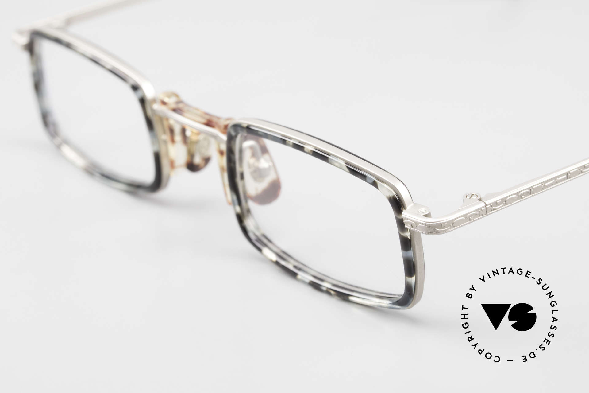 """Freudenhaus Jedi Square 90's Designer Frame, unique pattern in a kind of """"marbled gray"""" / titanium, Made for Men and Women"""
