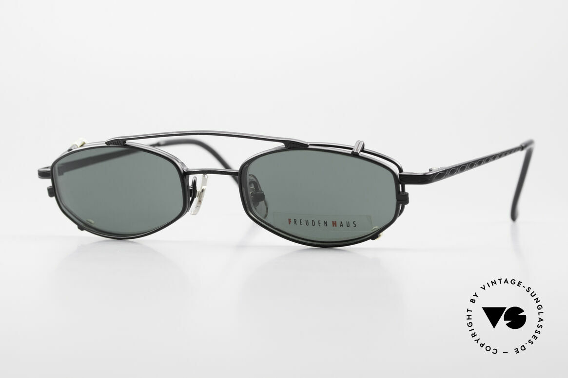 Freudenhaus Ita Titanium Frame With Sun Clip, vintage designer glasses by FREUDENHAUS, Munich, Made for Men and Women