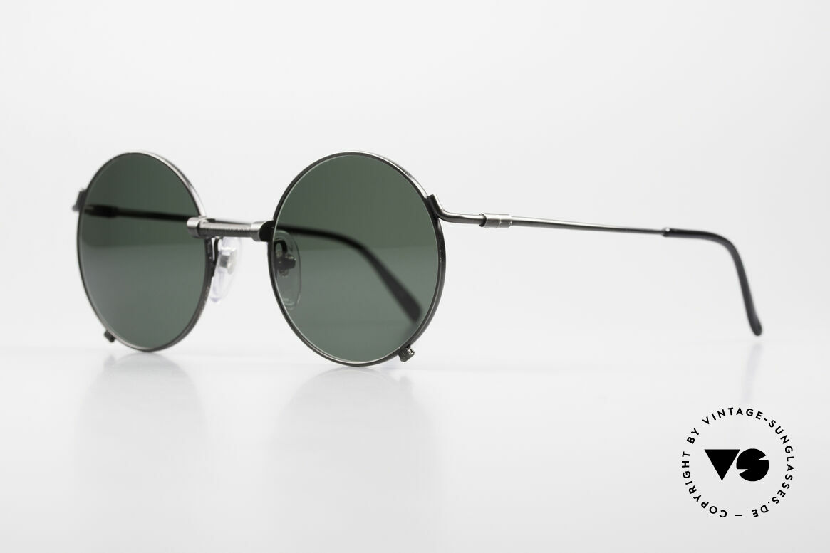 Jean Paul Gaultier 55-7162 Round Vintage Sunglasses 90s, a classic with green sun lenses (100% UV prot.), Made for Men and Women