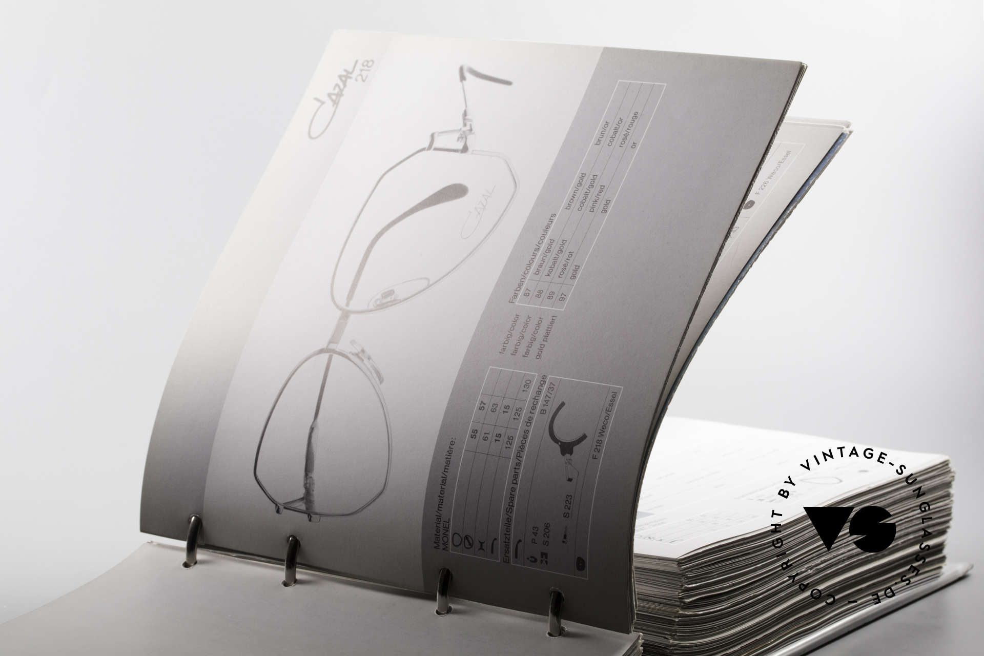 Cazal 0 Catalog Old 80's 90's Cazal Catalogue, very useful for opticians and eyewear collectors, Made for Men and Women