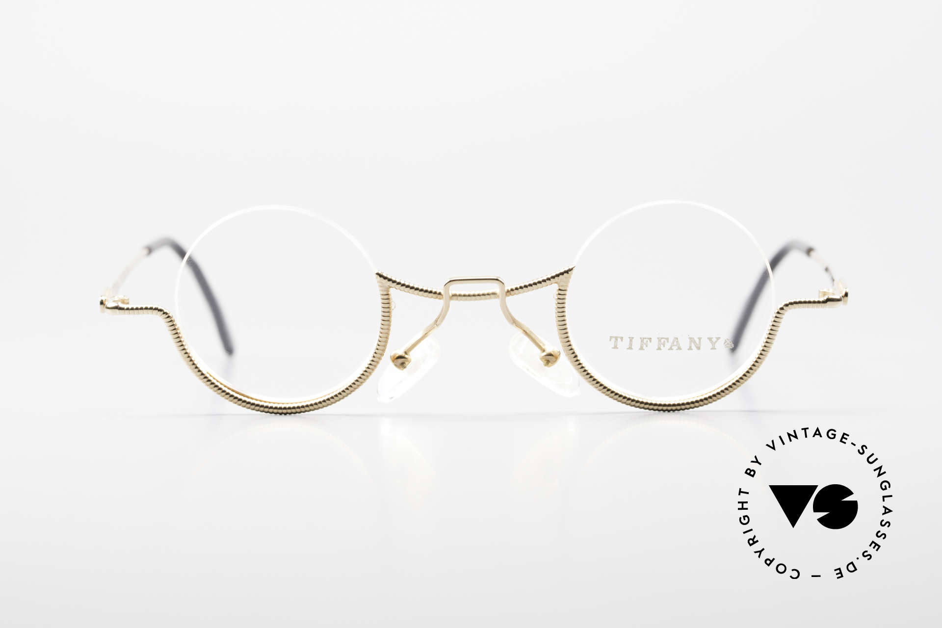 Tiffany T64 23K Gold Plated Luxury Frame, model T64, in size 36/11, 140, Col 4 (gold/black), Made for Women