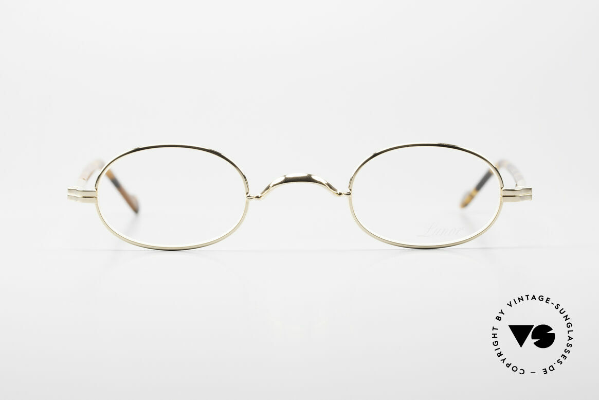 Lunor II A 08 Small Oval Glasses Gold Plated, full rim metal frame with sophisticated acetate temples, Made for Men and Women