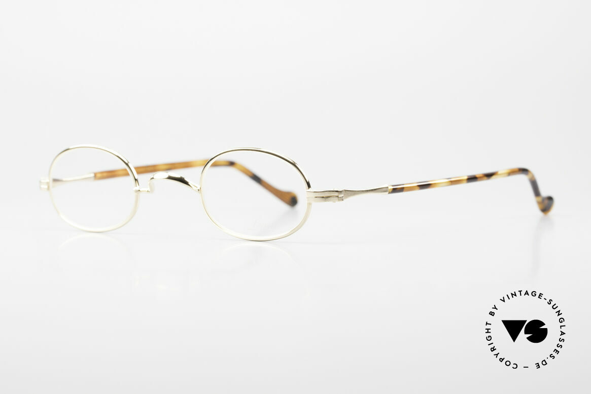 Lunor II A 08 Small Oval Glasses Gold Plated, plain design with a W-shaped bridge, 22kt GOLD-plated, Made for Men and Women