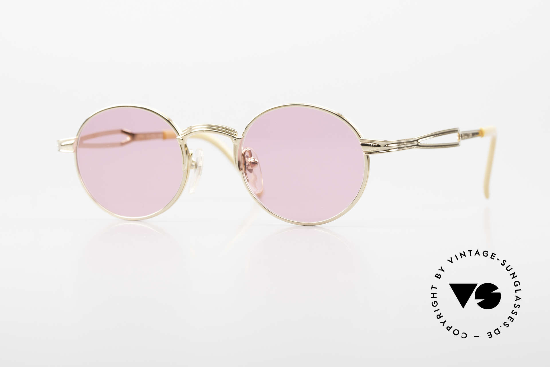 Jean Paul Gaultier 55-7107 Pink Round Glasses Gold Plated, pink, round vintage shades by Jean Paul GAULTIER, Made for Men and Women