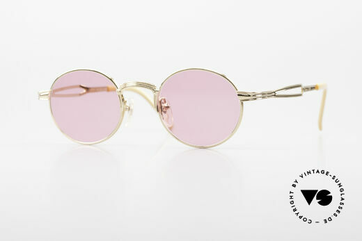 Jean Paul Gaultier 55-7107 Pink Round Glasses Gold Plated Details