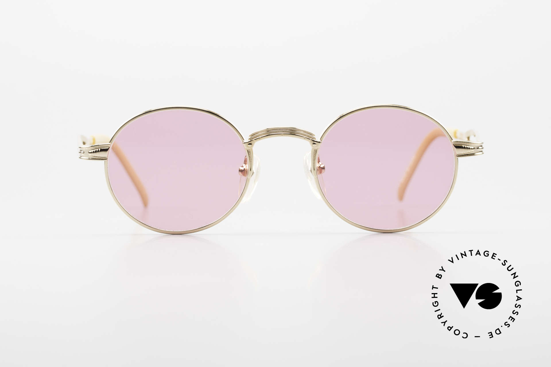 Jean Paul Gaultier 55-7107 Pink Round Glasses Gold Plated, GP: gold-plated metal frame; in S to M size 44/20, Made for Men and Women