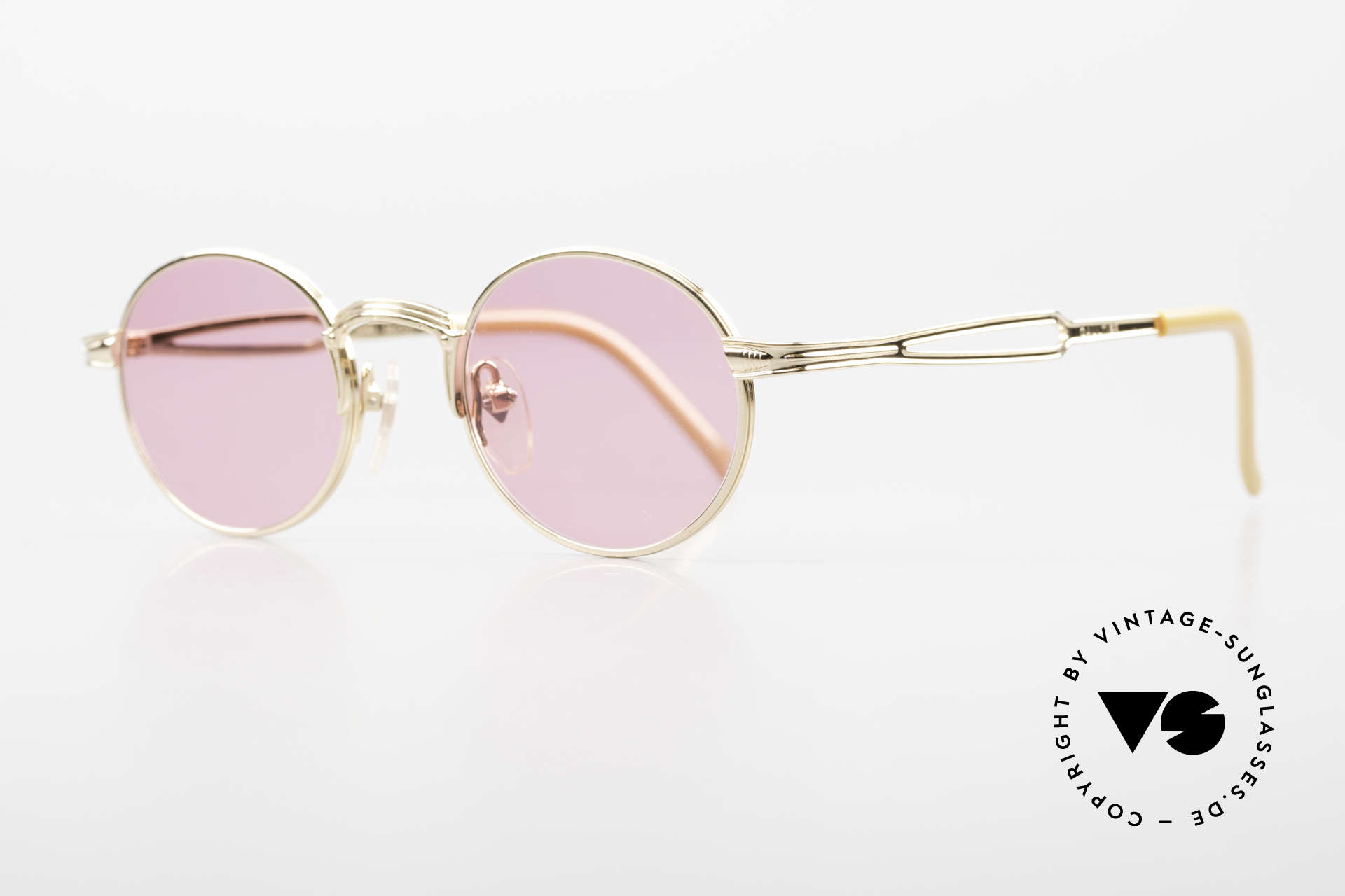 Jean Paul Gaultier 55-7107 Pink Round Glasses Gold Plated, PINK: see the world through rose-colored glasses ;), Made for Men and Women