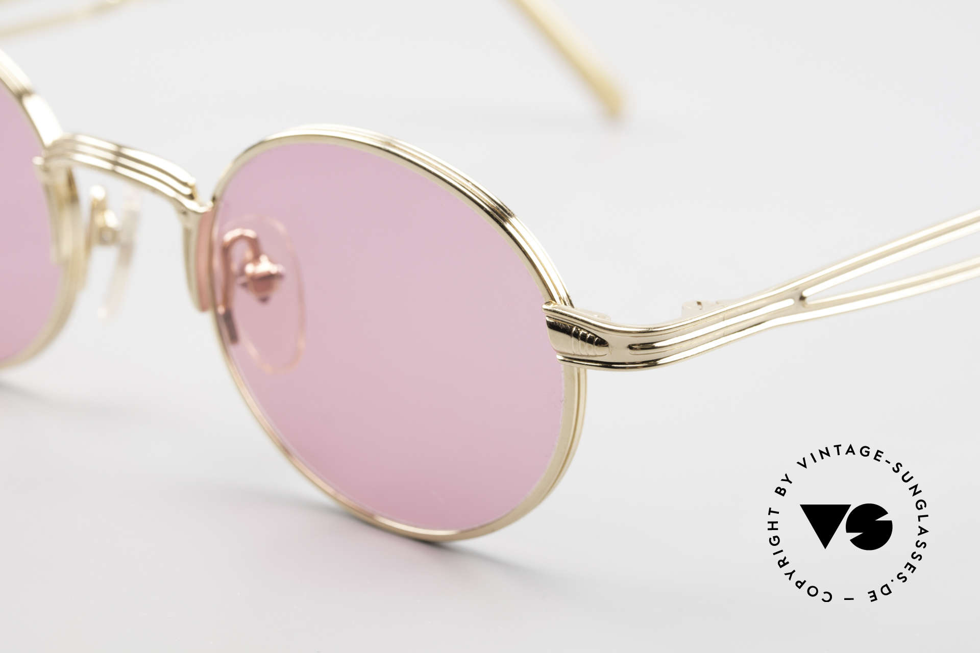 Jean Paul Gaultier 55-7107 Pink Round Glasses Gold Plated, real designer piece in TOP quality, (made in Japan), Made for Men and Women