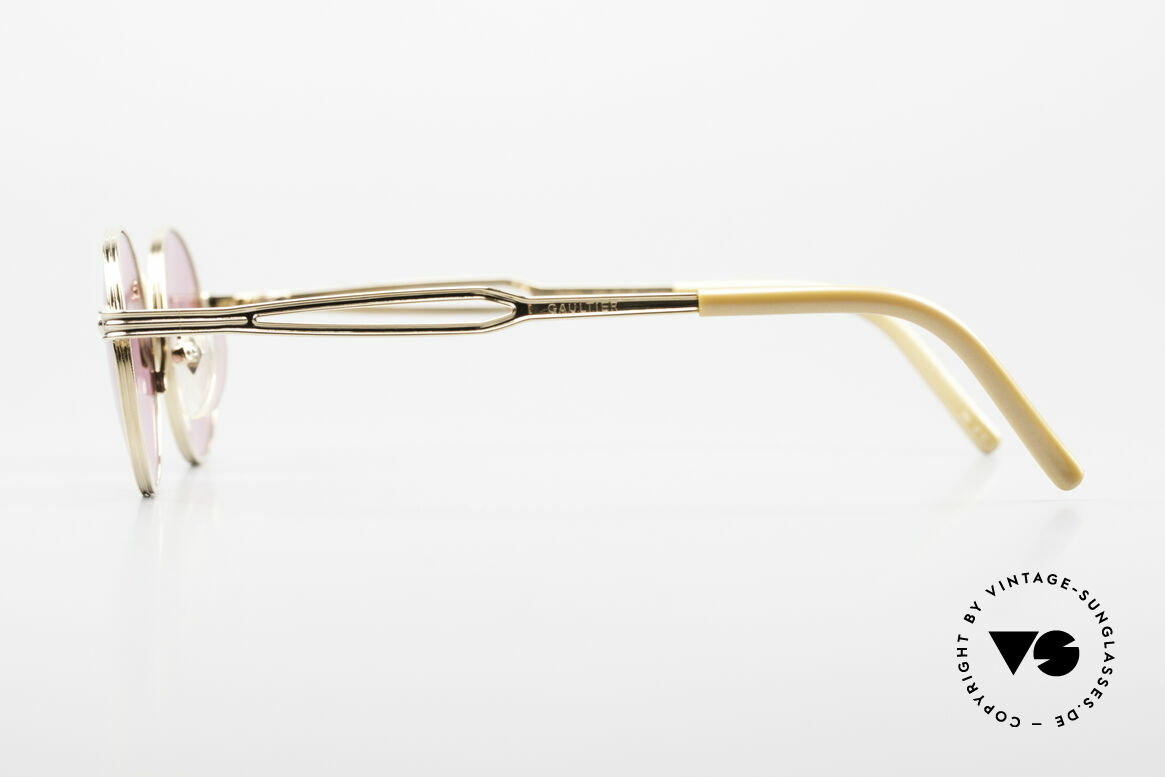 Jean Paul Gaultier 55-7107 Pink Round Glasses Gold Plated, unworn (like all our vintage GAULTIER sunglasses), Made for Men and Women