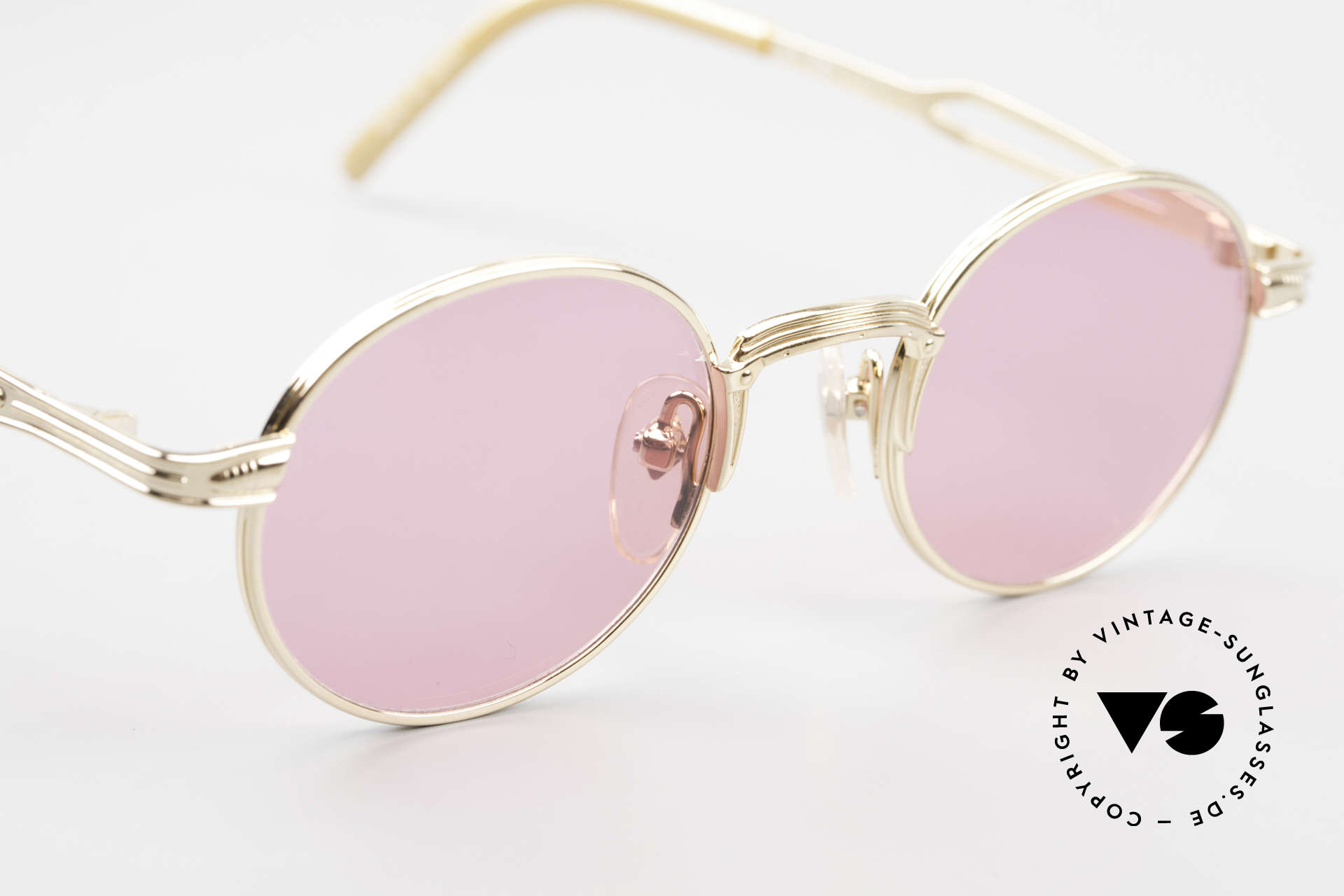 Jean Paul Gaultier 55-7107 Pink Round Glasses Gold Plated, NO RETRO glasses; but a rare ORIGINAL from 1997, Made for Men and Women
