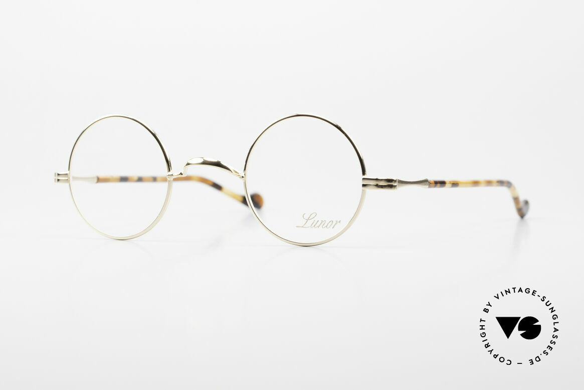 Lunor II A 12 Round Eyeglasses Gold Plated, round Lunor glasses of the Lunor II-A series (A = acetate), Made for Men and Women
