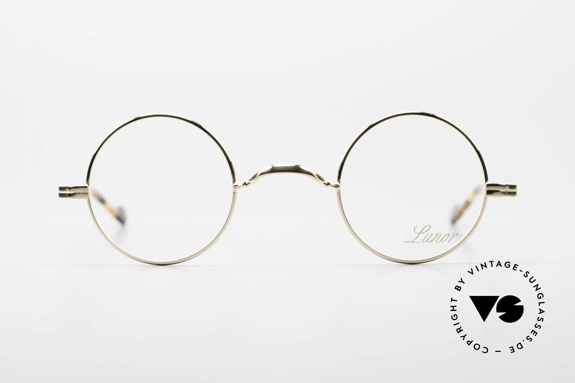 Lunor II A 12 Round Eyeglasses Gold Plated, combination: full rimmed metal frame & acetate temples, Made for Men and Women