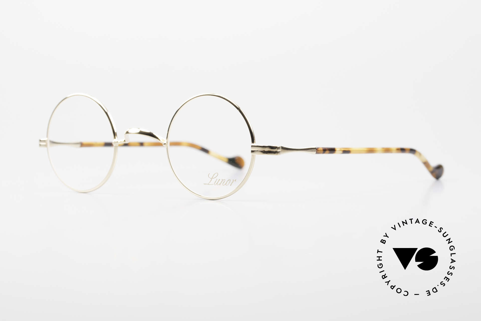Lunor II A 12 Round Eyeglasses Gold Plated, precious 22ct GOLD-PLATED, tangible TOP-notch quality, Made for Men and Women