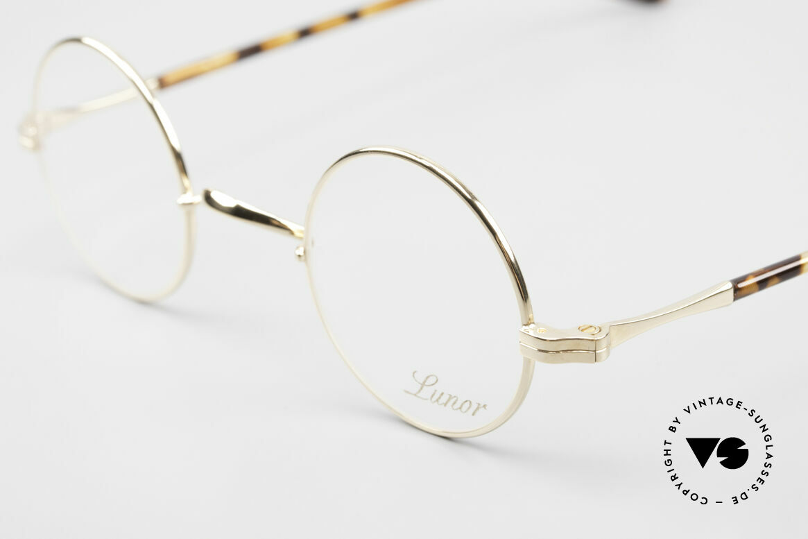"""Lunor II A 12 Round Eyeglasses Gold Plated, this is the round """"12"""" design in size 38/25 (extra SMALL), Made for Men and Women"""