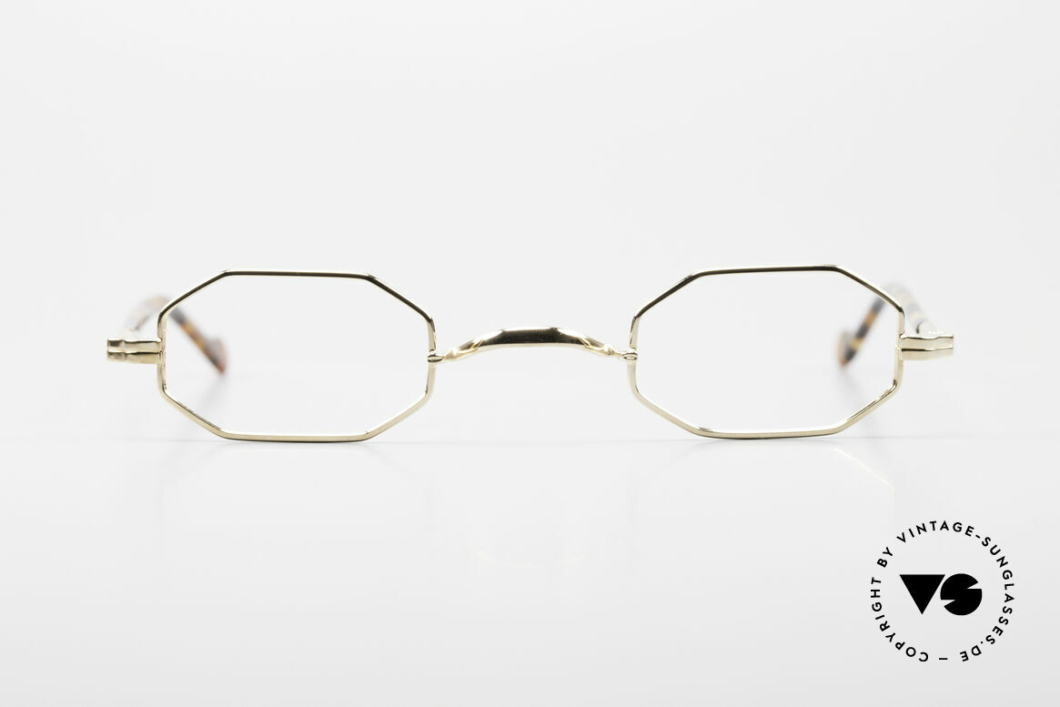 Lunor II A 01 Octagonal Glasses Gold Plated, Lunor Octag glasses of the Lunor II-A series (A = acetate), Made for Men and Women