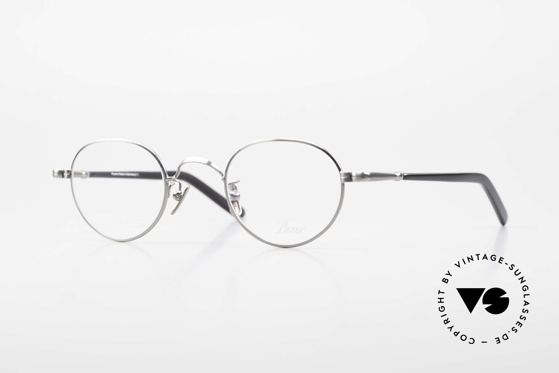 Lunor VA 107 Panto Style Antique Silver AS, old Lunor eyeglasses, size 43/24, AS: ANTIQUE SILVER, Made for Men and Women
