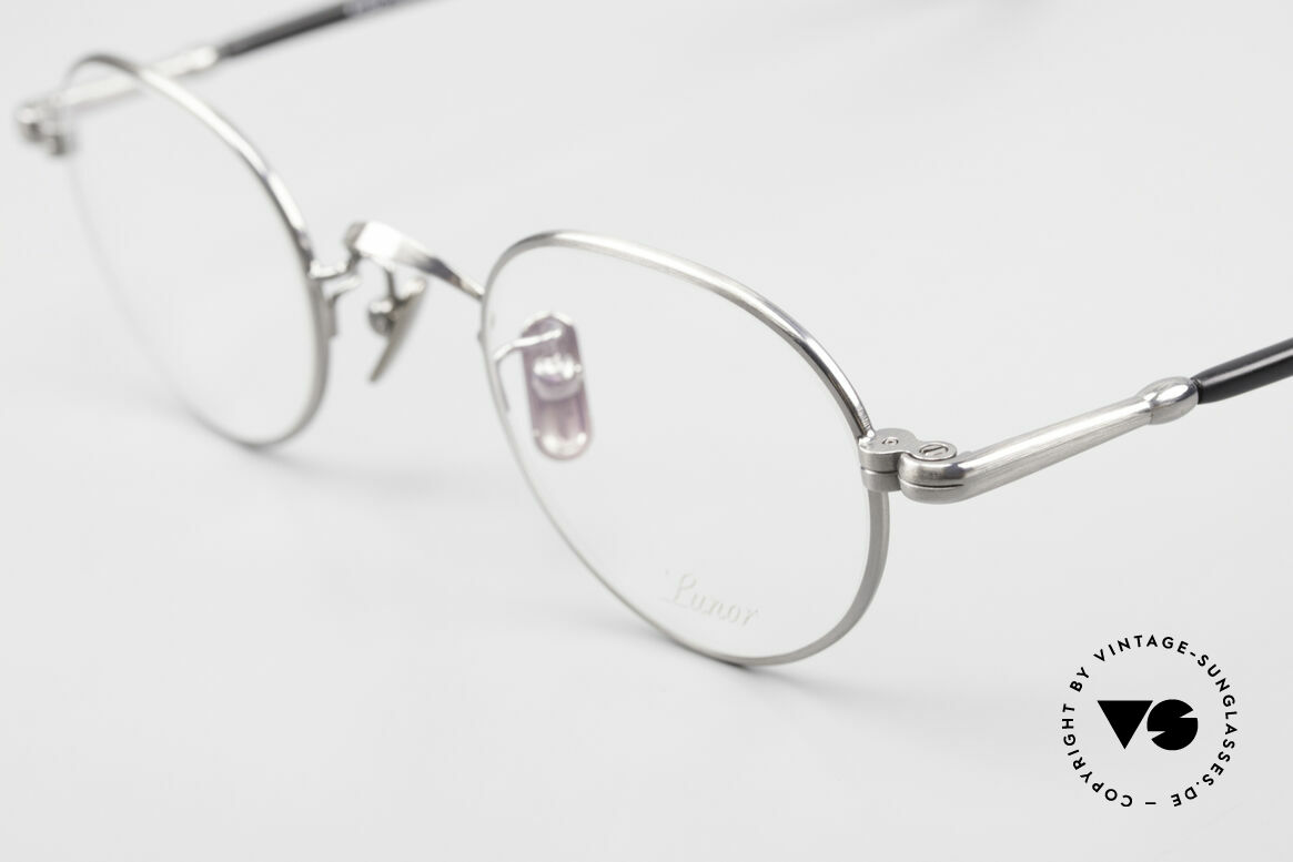 Lunor VA 107 Panto Style Antique Silver AS, model VA 107 = acetate-metal temples & titanium pads, Made for Men and Women
