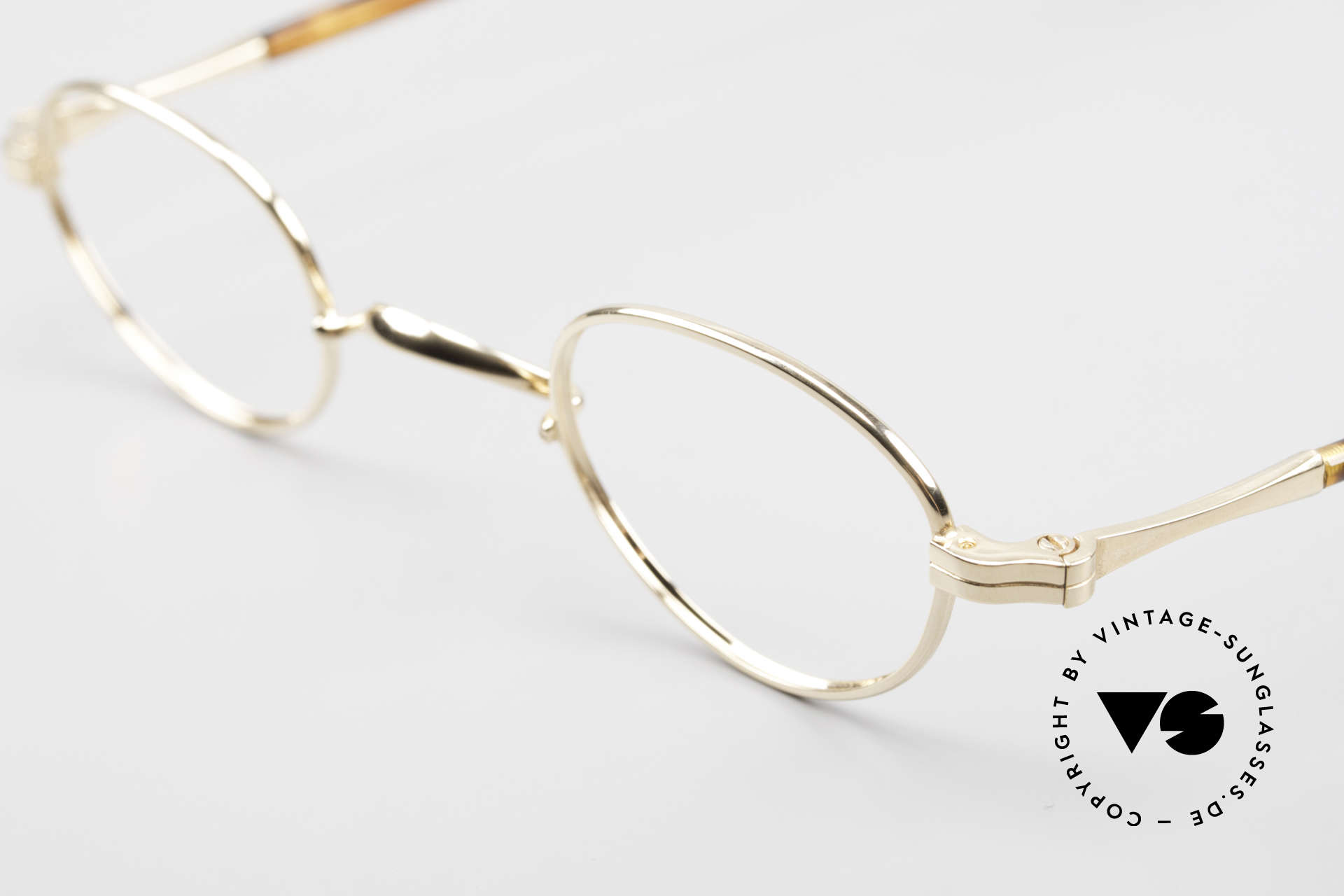 """Lunor II A 03 Gold Plated Eyeglass-Frame, this is the eyewear """"03"""" design, size 38/25 (extra small), Made for Men and Women"""