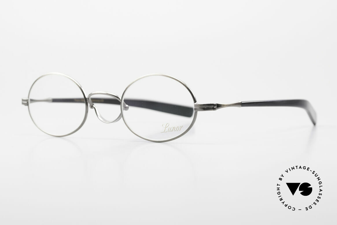 """Lunor Swing A 33 Oval Swing Bridge Antique Silver AS, """"A"""" stands for """"acetate temples"""", medium size 44/25, 143, Made for Men and Women"""